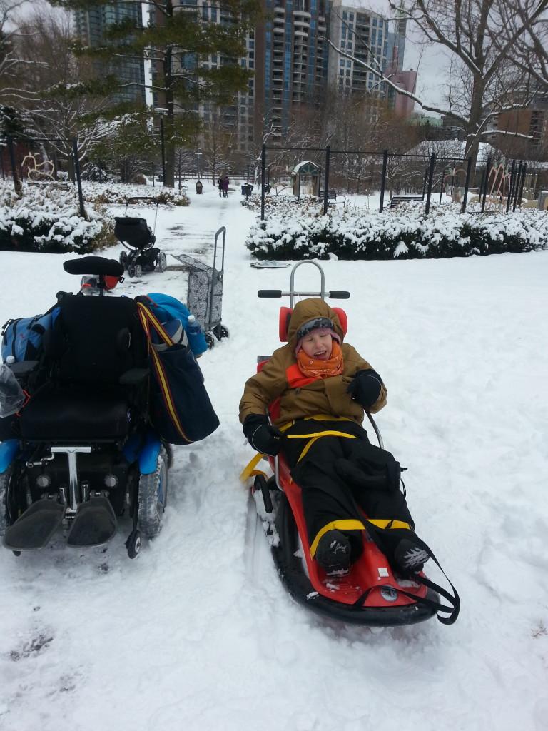 Aidan sledding 2